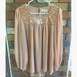 Umgee Tan Sheer Long Sleeve Blouse with Sequins